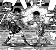 Ippo being outclassed by Alfredo