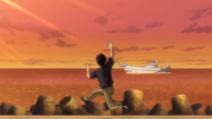 Umezawa waving Ippo and Hiroko goodbye as he leaves their fishing boat company