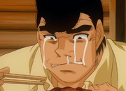 Takamura crying while eating the bear he knocked out