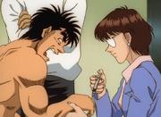Yamaguchi giving Ippo a shot