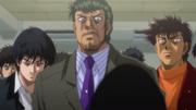 Date, Miyata,Sendō, backing Takamura in his match against Hawk