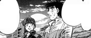 Ippo encouraging Itagaki about his match against Imai