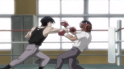 Miyata landing the finishing blow on Ippo in their first spar