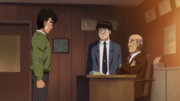 Ippo talking to Kamogawa and Yagi about knowing the Dempsey Roll's weakness to counters