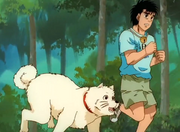 Hachi running back with Ippo after everyone thought he was a bear