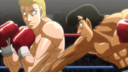 Eagle dodging Takamura's punches