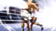 Yamada hitting Ippo with the solar plexus blow