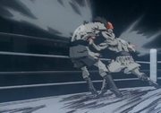 Ippo landing the Gazelle Punch on Volg in round four