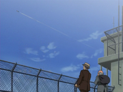 Kamogawa and Nekota Watching Hanma's Plane Taking Off