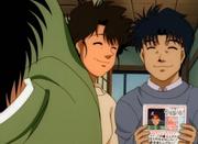 Hiroko and Umezawa handing Ippo a dating map