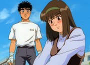 Kumi asking for Ippo's autograph
