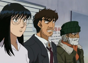 Fujii and Mari watching Sanada spar