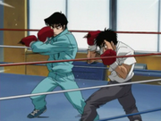 Kimura sparring to show the Hien to Ippo