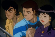 Tomiko cheering for Kimura and Ippo
