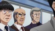 Kamogawa, Yagi, and Miyata watching Eagle spar
