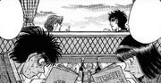 Kumi and Ippo spying on Mashiba and Itagaki