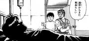 Miyazaki and Ippo with Hiroko at hospital