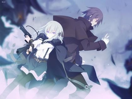 FileGuns Long Hair Weapons Pantyhose Short Anime Boys White Purple Eyes