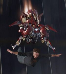 Anthony Stark (Earth-199999) with Iron Man Armor MK VII (Earth-199999) from Marvel's The Avengers 001