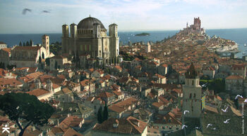 King's Landing, with a view of the Great Sept of Baelor and the Red Keep in the distance