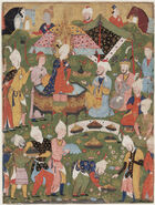 Safavid Dynasty, Joseph Enthroned from a Falnama (Book of Omens), circa 1550 AD
