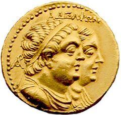 Oktadrachmon Ptolemaios II Arsinoe II