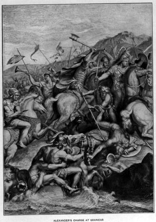 Black Cleitus saves Alexander in the charge at the Granicus (19th century adaptation from the painting by Charles le Brun)