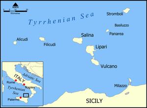 Aeolian Islands map