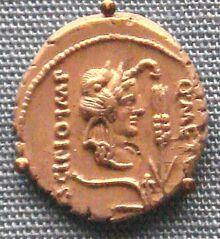 Silver denarius of Metellus Scipio 47 46 BCE