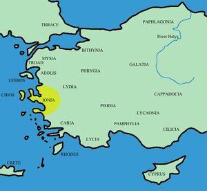 Turkey ancient region map ionia