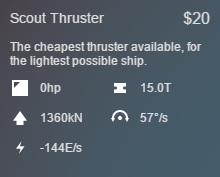 Scout Thruster Stats