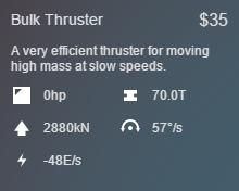 Bulk Thruster Stats