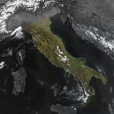 Penisola italiana evidenziata