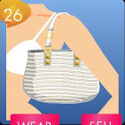 BF White Studded Straw Tote