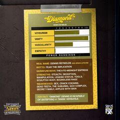 Back image of Dennis' trading card.