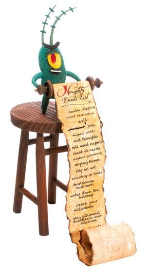 Plankton's naughty deeds list stock image