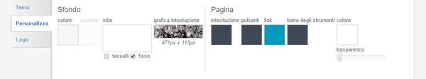 Scheda personalizza theme designer