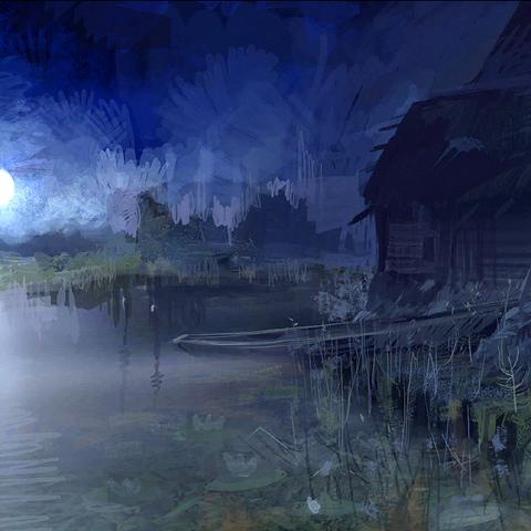 Riva del Lago di notte - concept art