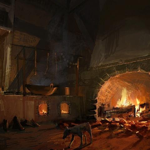 La locanda Nuova Narakort di notte - concept art