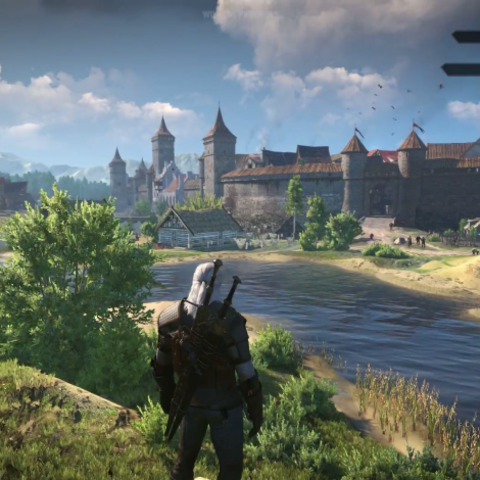 Una vista della città di Novigrad come appare in The Witcher 3
