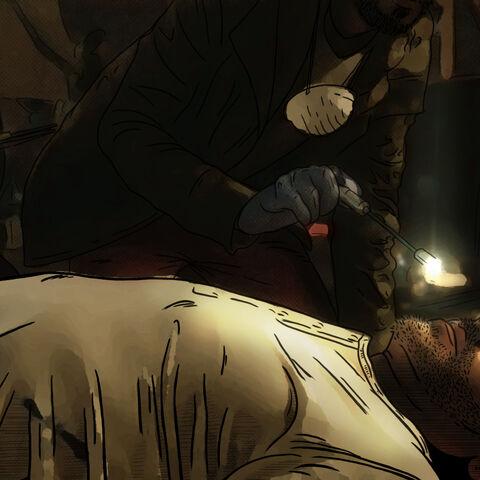 Examining Javier's body.