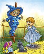 Дороти и Тото встречают Страшилу. Илл. Татьяны Сониной