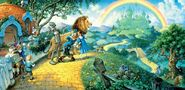 Dorothy and her friends on their way to the Emerald city