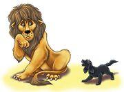 Тото пугает льва. Илл. Татьяны Сониной