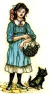 Dorothy Gale and Toto as described in The Wonderful Wizard of Oz