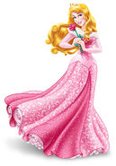 Princess Aurora holding a rose in her pink dress
