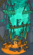 Volcanic Crater miner's cave concept art