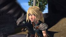 Astrid seeing Hiccup falling