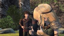 Astrid giving Hiccup two thumbs up