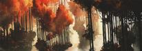 Las jesień tło